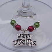 Merry Christmas Wine Glass Charm - Elegance Style